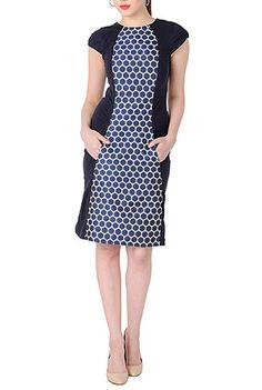 I <3 this Polka dot jacquard colorblock knit dress from eShakti