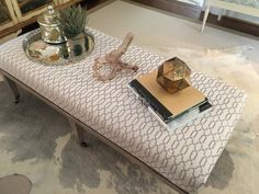 Ottoman styled with pretty items from HomeGoods. sponsored by HomeGoods Happy by Design.