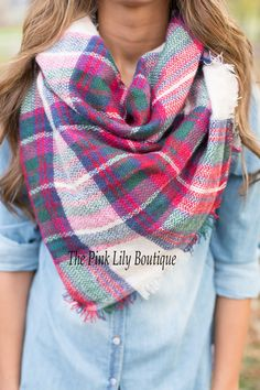 Oversized Blanket Scarf Fuchsia - The Pink Lily Boutique