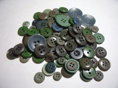 Vintage Buttons Shades of Green lot of 96 by purrfectstitchers, $8.00