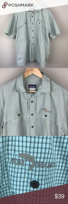 Patagonia 4UR Ranch plaid button fishing shirt Patagonia Organic Cotton Poly Blend men's short sleeved light greenish blue and grey plaid fishing shirt with 4UR Ranch embroidered on pocket. Excellent used condition with no holes tears or stains. Size L Patagonia Shirts Casual Button Down Shirts