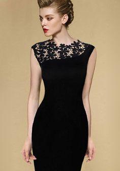 Love! Love! Love this Little Black Dress! Black Lace Patchwork Hollow-out Lace Shoulder Wrap Cotton Dress #Sexy #Black #Lace #LBD #Fashion