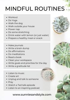 Achtsamkeit Read the guidelines below on how to create a daily mindful routine that you will love. having a daily mindful daily routine. Self Care Routine, Yoga Routine, Health Routine, Bedtime Routine, Good Habits, Healthy Habits, Healthy Meals, Healthy Recipes, Healthy Food
