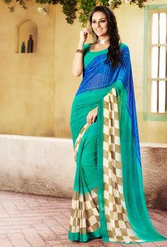 Green Digital Printed Saree - Desi Royale