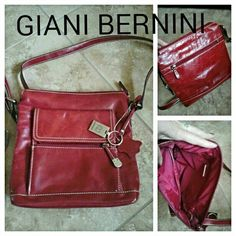 NWT GIANNI BERNINI RED LEATHER CROSSBODY BAG Glazed leather.  Never used.  Zipper pocket on front.  Snap flap on front with numerous pockets inside.  Zipper compartment inside.  Zipper compartment on back. Giani Bernini Bags Crossbody Bags