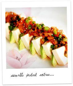 interesting appetizer - tofu, kimchi and avocado