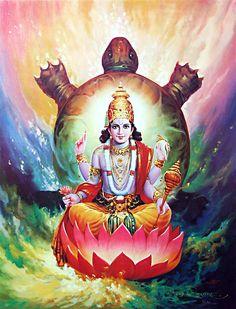 Second - Kurma Avatar - The Tortoise Incarnation. The ten incarnations of Vishnu. learn why Lord Vishnu incarnated Kurma Avatar in Sat- Yug . Krishna Love, Lord Krishna, Shiva, Indian Gods, Indian Art, Shri Ram Wallpaper, Lord Balaji, Lord Vishnu Wallpapers, Hindu Deities