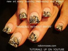 MARBLING NAILS WITHOUT WATER: robin moses swirls nail art design tutorial