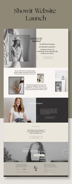 When Erin, founder of Kindled and Kindred, came to me to create a Showit website for her I was honored and a little bit intimidated. Banner Web Design, Layout Design, Design Logo, Branding Design, Web Banners, Type Design, Web Design Trends, Design Websites, Website Design Inspiration