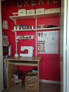 Craft closet.  Paint- Feverish Red by SW, Peg board- Home Depot, Elfa Shelving- Container Store, DIY letters using cardboard blocks from JoAnn Fabrics, Ribbon organizer- Michaels.