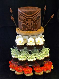 Hawaiin Tiki Head Luau Cake with Tropical Flower Cupcakes