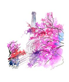 Paris in the Spring, print from original watercolor illustration by Jessica Durrant