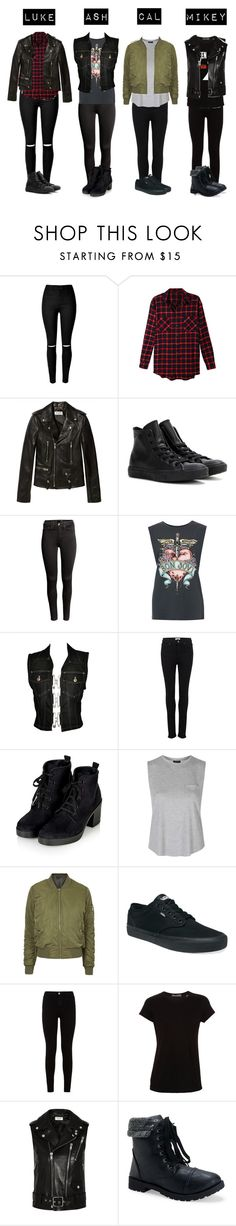"""""""5SOS Outfits- Girl Edition (1)"""" by luke-hemmings-baby ❤ liked on Polyvore featuring LE3NO, Yves Saint Laurent, Converse, H&M, Jean-Paul Gaultier, Paige Denim, Topshop, Vans, 7 For All Mankind and Vince"""