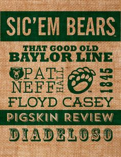 #Baylor University burlap subway wall art -- love how they highlighted our traditions!
