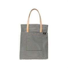 Kate Spade Saturday  Fold-In Tall Tote in Black/Cream Mini Stripe