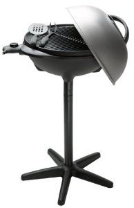 No-fuss grilling made easy, for use indoors or outside Grill can be used on pedestal (stands about -1/2 feet high) or on tabletop Uses electric heat, with adjustable range from low to high Sloping grate base draws fat away from food to collect in easy-to-empty tray Product Built to North American Electrical Standards