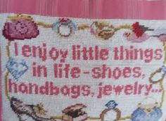 Exquisite Vintage Needlepoint Pillow - Shoes - Jewelry - Handbags by EleganceFromBillie on Etsy
