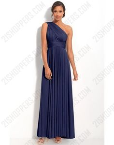 Navy column one-shoulder bridesmaid dress with sash buuut in purple