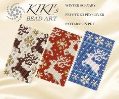 Peyote pen cover patterns Winter scenery reindeer and