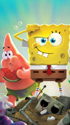 Disney Phone Wallpaper, Cartoon Wallpaper Iphone, Cute Wallpaper Backgrounds, Laptop Wallpaper, Spongebob Friends, Nickelodeon Spongebob, Joker Wallpapers, Cute Wallpapers, Wallpaper Wallpapers