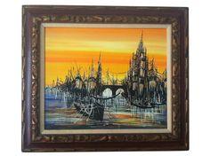 "Mid Century Modernist Painting ""Harbor Lights"" Signed"