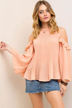 Crinkled Open-Shoulder Perma Pleat Blouse