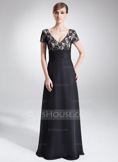 A-Line/Princess V-neck Floor-Length Ruffle Beading Zipper Up Sleeves Short Sleeves No Black Spring Summer General Plus Chiffon Lace Mother of the Bride Dress