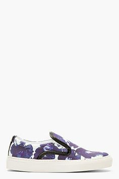 Mother Of Pearl Indigo & White Floral Leather Trim Slip-on Sneakers for women
