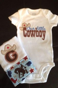 Our Little Cowboy Onesie and Burp Cloth Set by mycamillescreations, $30.00