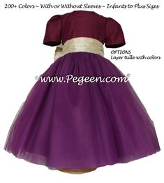 Flower girl dresses in Eggplant and Pure Gold silk and tulle
