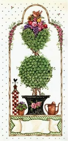 Amarna CRAFTS AND IMAGES: BACKYARDS IMAGES, GARDEN AND GARDENING FOR CRAFTS AND DECOUPAGE - ILLUSTRATIONS BY SANDI GORE EVANS - click on the images to enlarge them