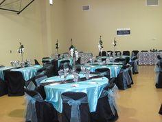 tiffany blue and black table settings