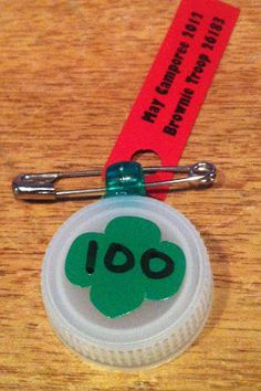 girl scout swap - using recycled water bottle cap.