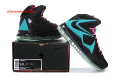 buy popular fb8d3 27785 Lebron 10 Lebron James Shoes 2013 South Beach Black Blue Cherry Pink Glow  In The Dark