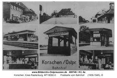 Korschen, Postkarte vom Bahnhof