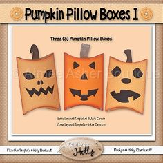 Pumpkin Pillow Boxes I :: Halloween :: Holidays :: Aimee Asher Boutique