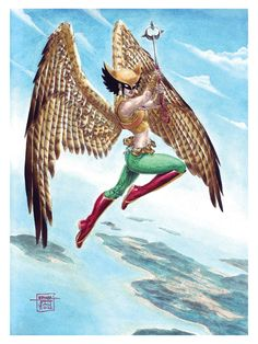Hawkgirl in Gouache by edtadeo on DeviantArt