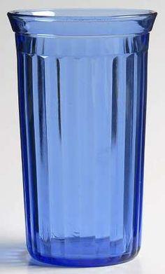 I identified my glasses.  They're Hazel Atlas cobalt blue AURORA depression glass tumblers.  I have a set of 6.