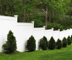 Board Fence – Privacy is assured with a board hollow vinyl fence that… - Modern Fence Landscaping, Backyard Fences, Backyard Projects, Outdoor Projects, White Vinyl Fence, White Picket Fence, Vinyl Privacy Fence, Vinyl Fencing, Walpole Outdoors