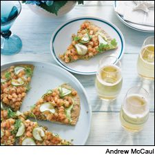 Togarashi-Spiced Hamachi Pizza: Pair this easy to eat, high-end comfort food with a dry Champagne.