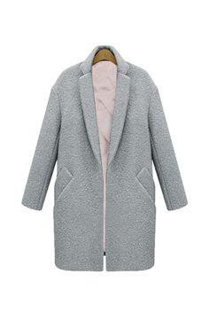 Goodnight Macaroon GREY DIAGONAL POCKETS LONG WOOL COCOON COLLAR COAT Winter Fashion Street Style Heather Grey Blush Pink Boyfriend Coat Jacket Grey Coat