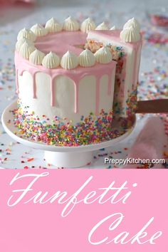 What is a Funfetti Cake? It's a moist vanilla cake with extra sprinkles and topped with pink ganache What is a Funfetti Cake? It's a moist vanilla cake with extra sprinkles and topped with pink ganache Moist Vanilla Cake, Easy Vanilla Cake Recipe, Chocolate Cake Recipe Easy, Chocolate Cookie Recipes, Easy Cake Recipes, Vanilla Drip Cake, Chocolate Ganache, White Chocolate, Dessert Recipes