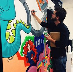 Harebrained visited the office today to work on the mural!