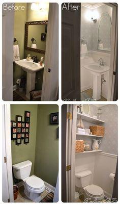 Plan for the powder bath: Add molding, add shelves. Love the shelf idea!!!