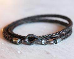 Mens Leather Bracelet with darkened silver by ChickpeaDesignStudio