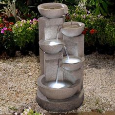 An Incredibly Relaxing Display, The Modern Multi Tier Zen Bowls  Indoor/Outdoor Fountain