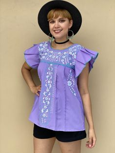 Lilac ruffled sleeve floral embroidered mexican blouse women, boho hippie modern top, mexico beach vacation, hand embroidered flowers Mexican Top, Mexican Blouse, Mexican Outfit, Fiesta Outfit, San Antonio, Modern Tops, Boho Hippie, Embroidered Flowers, Ruffle Sleeve