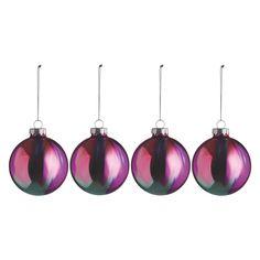 RITI Set of 4 drip-painted glass Christmas tree decorations | Buy now at Habitat UK