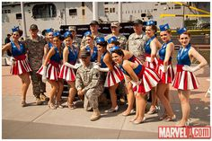 I want to be a Captain America chorus girl for Halloween...problem is, this costume doesn't exist, I don't think...