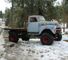 1954 chevy 1 ton 4 x 4 rat rod flat bed truck with 42 iroks Rat Rod Trucks, Rat Rods, Gm Trucks, Diesel Trucks, Cool Trucks, Pickup Trucks, Cool Cars, Truck Drivers, Lifted Trucks